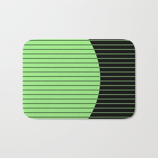 Opposites Attract (Abstract, green and black, geometric design) Bath Mat
