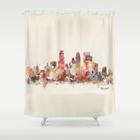 minneapolis Shower Curtains featuring Minneapolis Minnesota by bri.buckley