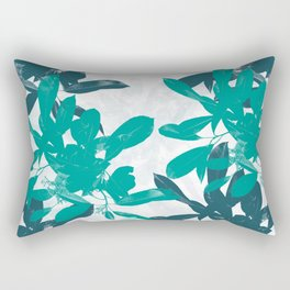 Tropical Turquoise Leaves Rectangular Pillow