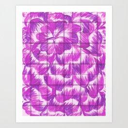 purple plaid dahlia flower Art Print