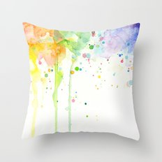Watercolor Rainbow Splatters Abstract Texture Throw Pillow