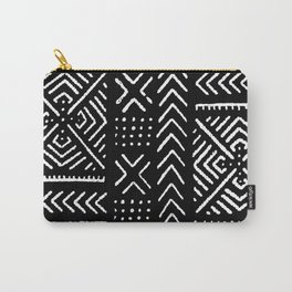 Line Mud Cloth // Black Carry-All Pouch