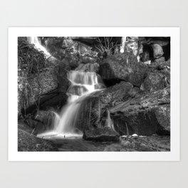 Lumsdale waterfall 6 - mono Art Print