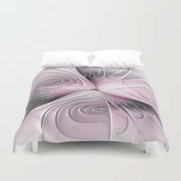 Fantasy Flower, Pink And Gray Fractal Art Duvet Cover