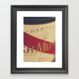 Champagne bottle, macro photography of old wine label on museum paper, still life, bar, home decor Framed Art Print