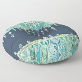 Art Deco Double Drop in Blues and Greens Floor Pillow