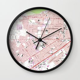 Vintage Map of Riverside California (1967) 2 Wall Clock