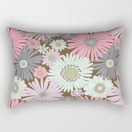 Pink & Purple Pastel Retro Flowers Rectangular Pillow
