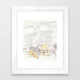 French Bulldogs Breakfast with Paris Rooftops View Framed Art Print