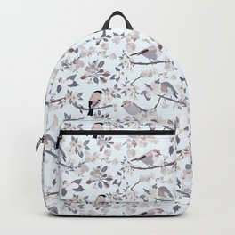 Blossom and Birds Cool Grey Tones Print Backpack