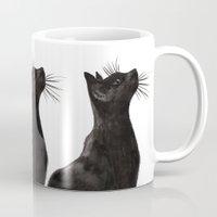 black cat Mugs featuring Black Cat by Cedric S Touati