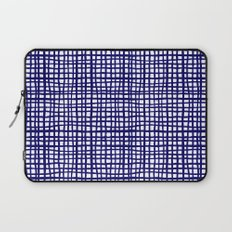 Grid indigo blue bold dramatic modern minimal abstract painting lines gridded pattern print minimal Laptop Sleeve