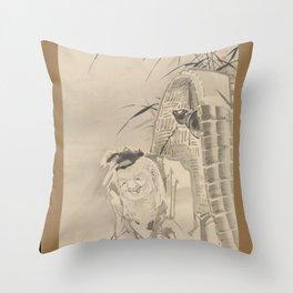 Soga Shōhaku - Tōkaibō with a Fishing Basket Throw Pillow