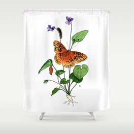 Spangled Fritillary and Violet Shower Curtain