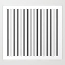 Mattress Ticking Wide Striped Pattern in Dark Black and White Art Print