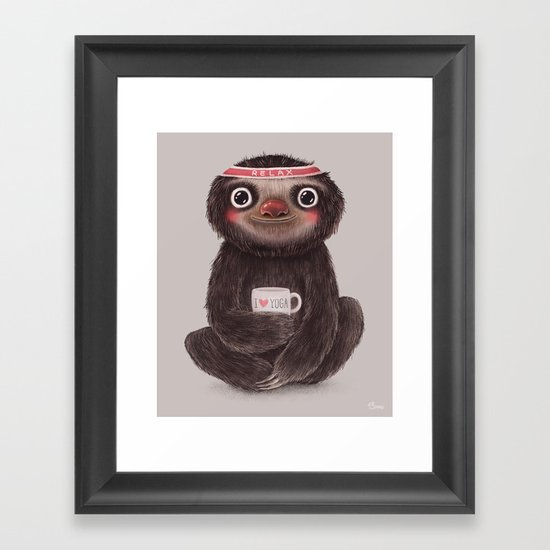 Sloth I♥yoga Framed Art Print