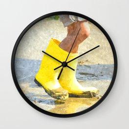 Fun In My Yellow Rain Boots Wall Clock