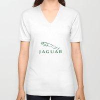 jaguar V-neck T-shirts featuring Jaguar by kartalpaf
