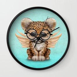 Cute Leopard Cub Fairy Wearing Glasses on Blue Wall Clock