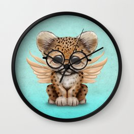Cute Leopard Cub Fairy Wearing Glasses on Blue Wall Clock