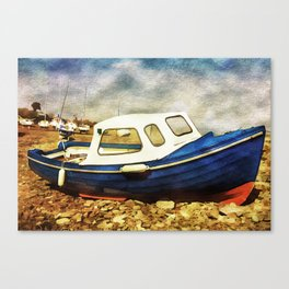 Small Boat with Watercolour Effect. Canvas Print