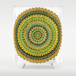Lucky Shamrock Green and Gold Mandala Colored Pencil Illustration by Imaginarium Creative Studios Shower Curtain