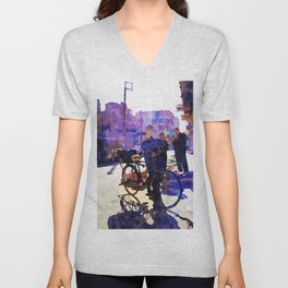 Boy with bicycle in Aleppo Unisex V-Neck