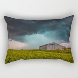 Rainy Day - Storm Passes Behind Barn in Southwest Oklahoma Rectangular Pillow