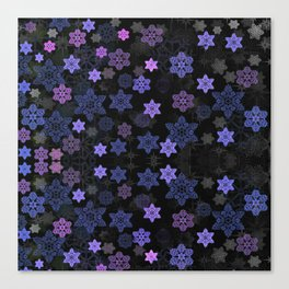 Christmas Snowflakes at Night Canvas Print