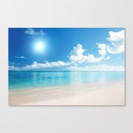 Beach Ocean Seaside Clouds Sun Sunshine Blues Canvas Print