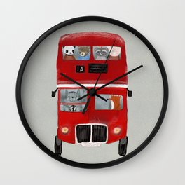 the little big red bus Wall Clock