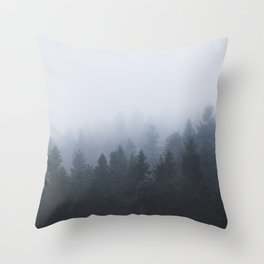 Mysterious forest in the fog Throw Pillow