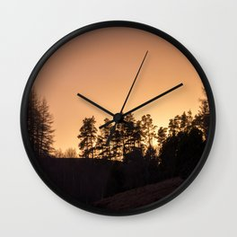 sunset silhouette trees Wall Clock