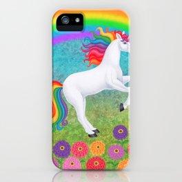 kismet (rainbow unicorn), rainbow, zinnias iPhone Case