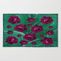 malachite Area & Throw Rugs featuring Purple Roses Scattered on Green Malachite Abstract by SharlesArt