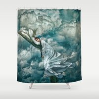sleep Shower Curtains featuring Sleep by Spoken in Red