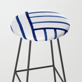 Watercolor lines pattern | Navy blue Bar Stool