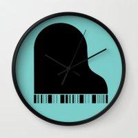piano Wall Clocks featuring Piano by Tony Vazquez