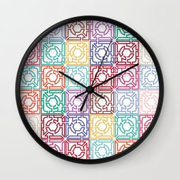 Maze Colorful Seamless Pattern Wall Clock