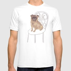 Pug on a chair White MEDIUM Mens Fitted Tee