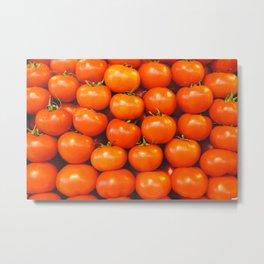Vintage organically homegrown heirloom tomatoes illustration pattern Metal Print