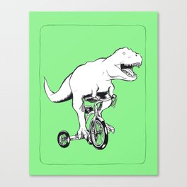 Tyrannosaurus Rex on a Tricycle Canvas Print