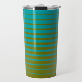 gradient stripes aqua olive Travel Mug