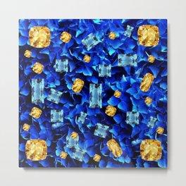 SEPTEMBER BLUE & CHAMPAGNE TOPAZ GEMS BIRTHSTONE ART Metal Print