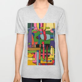Colors in Collision 3 - Geometric Abstract of Colors that Clash Unisex V-Neck