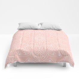 White Mandala Pattern on Rose Pink Comforters