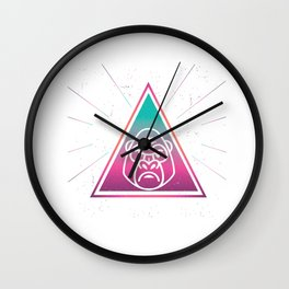 Colorful Gorilla Geometrical Triangle Apes Retro Style product Wall Clock