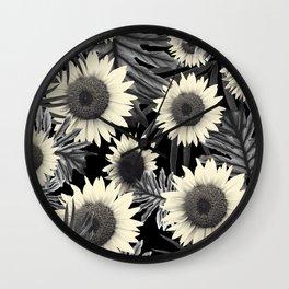 Tropical Sunflower Jungle Night Leaves Pattern #2 #tropical #decor #art #society6 Wall Clock
