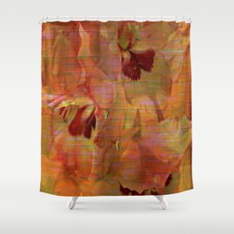 Vintage Soft Peach Glow Gladiola Abstract Shower Curtain