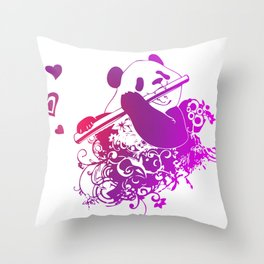 Panda Flute Throw Pillow